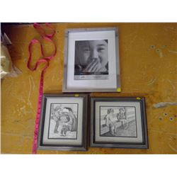 two bernie brown pictures and one 27cm x 35cm frame