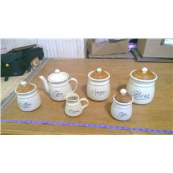 Set of 4 Canister Set, Tea Pot, and Creamer (NO SUGAR BOWL)
