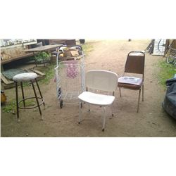 Stool, Shopping Cart, Shower Chair, and Dining Room Chair