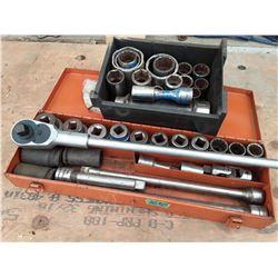 "1630___1 -- 3/4"" socket set in tool box & Box more ass sockets"