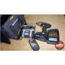 "Mastercraft 18V Screwgun/Drill (1/4"" Drive) w/Bag, Drill Bits, Extra Battery & Charger"