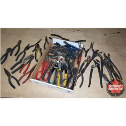 Tray Lot: Variety of Pliers, Vise Grips, Side Cutters & Tin Snips