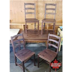 "Wooden Table w/4 Chairs (47""L x 29""W x 29""H)"