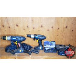 Tray Lot: Mastercraft 18V Drills(2), Batteries(3), Charger & Drill Driver Adapter