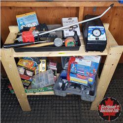 Tool Combo : Air Blower Guns, Mini Air Compressor, Tape Measure, Car Care Kits, Halogen Flood Light,