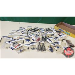 Tray Lot: RC Car/Truck Parts (Tire Glue, Pivot Body Mounts, Machine Screws, Lock Nuts, Brake Shoes,