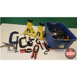 Tote Lot : Clamps & Jack Stands (2)