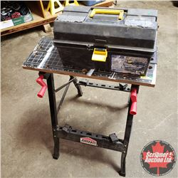 Workmate and Tool Box w/Screwdrivers, Calipers, etc