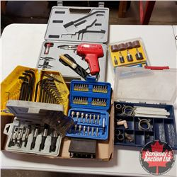 Tray Lot: Soldering Guns, Allen Wrenches, Easy Outs, etc