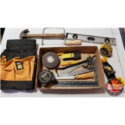 Tray Lot: Carpenter Combo (Tool Bag, Tape Measures, Stud Finder, Level, Plane, etc)