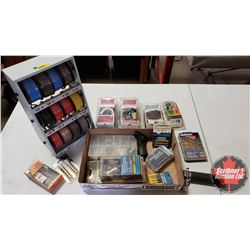 Tray Lot: Wire Dispenser, Mini Torch, Trailer Wiring, Solder Wire, Chain Burglar Alarm, etc