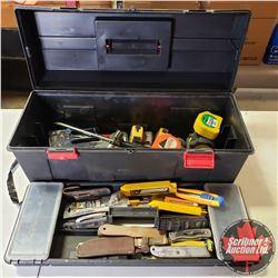 Plastic Tool Box w/Contents (Knives, Tape Measures, Rivet Gun, Staple Gun, etc)