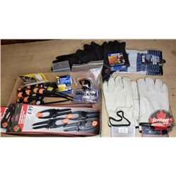 Tray Lot: Gloves, Clamps, etc