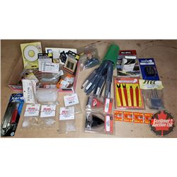 Tray Lot: RC Airplane Parts & Accessories (Glow Plugs, Propellers, Nose Cones, Muffler, Pilot, etc)
