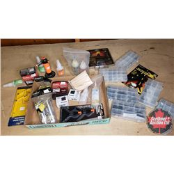 Tray Lot: RC Airplane Parts & Accessories (Adhesive, Mini Torch, Power Inverter, Rubber Bands, Servo