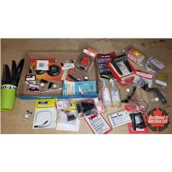Tray Lot: RC Airplane Parts & Accessories (Control Horn, Epoxy, Switch Harness, Engine Mounts, Wheel