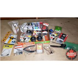 Tray Lot: RC Airplane Parts & Accessories (Aircraft Receiver, Servo, Engine Mounts, Wheels, Propelle