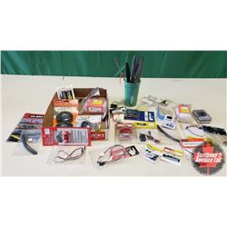 Tray Lot: RC Airplane Parts & Accessories (Props, Servo, Volt Meter, Wheels, Spinner, etc)