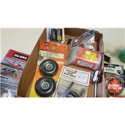 Tray Lot: RC Airplane Parts & Accessories (Balsa Stripper, Marking Tool, Muffler, Fuel Tank, etc)