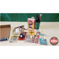 Tray Lot: RC Airplane Parts & Accessories (Propellers, Pro Glow Starter Clip, Tail Wheel Bracket, Gl