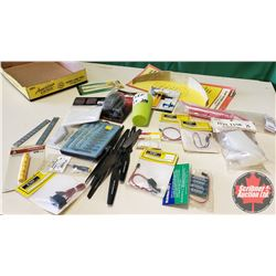 Tray Lot: RC Airplane Parts & Accessories (Propellers, Landing Gear, Hand Crank Fuel Pump, Fuel Tubi
