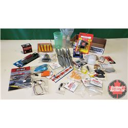 Tray Lot: RC Airplane Parts & Accessories (Propellers, Hinge Slotter Kit, 12V Charger w/LED, Epoxy,