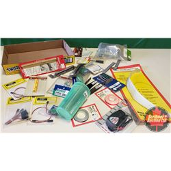 Tray Lot: RC Airplane Parts & Accessories (Propellers, Landing Gear, Groove Tube Cutting Tool, Batte