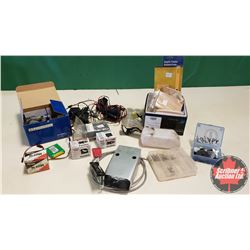 Tray Lot: RC Airplane Parts & Accessories (Engine, Servos, Angle Finder, Battery Chargers, etc)