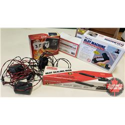 Box Lot: RC Airplane Parts & Accessories (Slot Machine, Battery Chargers, Heater Sealing Iron & Batt
