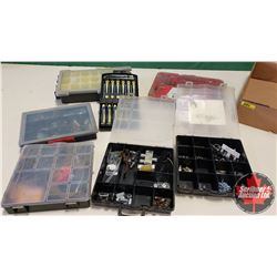 Tray Lot: Stove Bolts, Lightbulbs, Screws, Precision Screw Drivers, Knife Set, etc)