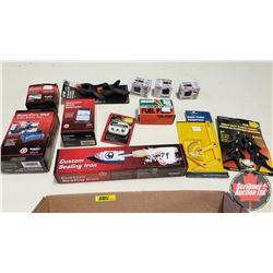 Tray Lot: RC Airplane Parts & Accessories (Servos, Fuel Pump, Sealing Iron, Volt Meter, etc)