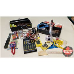 Plastic Tools Boxes (2): RC Airplane Parts & Accessories (Servos, Glow Plug Starter, Battery Packs,