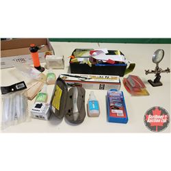 Tray Lot: RC Airplane Parts & Accessories (Trim Sealing Iron, Striping, Mini Torch, Overnight Charge