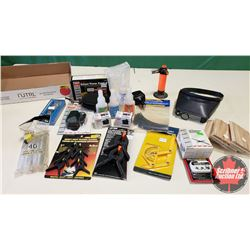 Tray Lot: RC Airplane Parts & Accessories (Electric Fuel Pump, Power Panel, Servos, Magnifying Head