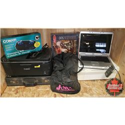 Laptop, Printers (2), CDS, Tapes, Briefcase, and Massager Belt