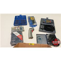 Tray Lot: Hole Saw Kit, Wire Crimpers & Terminals, Laser Thermometer, Fuses, etc