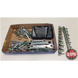 Tray Lot: Stubby Wrenches, Crows Feet & Ratchet Wrenches