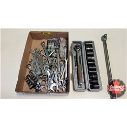 "Tray Lot: Flat Wrenches, Impact Socket Set, 1/2"" Drive Ratchet & Swing Arm"