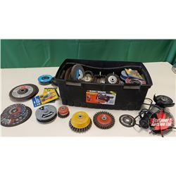 Plastic Tool Box w/Wire Wheels, Cut off Wheels, Grinding Discs & Grinder