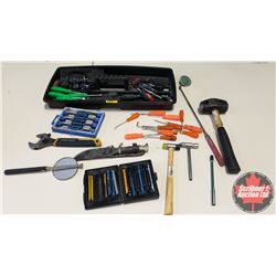 Tray Lot: Screw Drivers, Nut Drivers, Hook Tools, Crescent Wrench, Hammer, etc