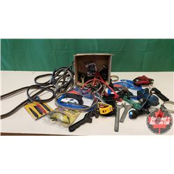 Box Lot: Oil Filter Wrenches, Laser Level, Safety Glasses, Booster Cables, etc