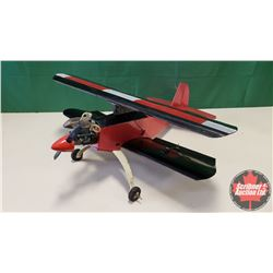 "RC Airplane : Red & Black Bi-Plane (Wing Span: 36"") (Overall Length: 36"")"