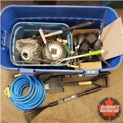 Tote Lot: Yard Tools, Air Hose, Solar Lights, etc