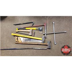 Sledge Hammers, Gooseneck, Pry Bar, Axes, etc