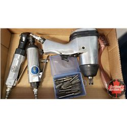 """Tray Lot: Pneumatic Tools (1/2"""" Drive Impact, Die Grinder, 1/4"""" Drive Air Ratchet, Wire Brush & Asso"""