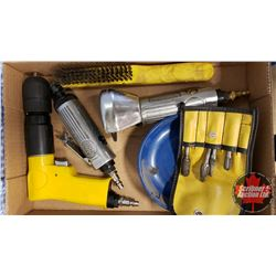 Tray Lot: Pneumatic Tools (Drill, Die Grinder, Cut Off Wheel, Carbide Burr Set & Wire Brush)