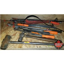 Assortment of Hammers, Pry Bars, Swing Arms, Belt Wrench & Magnets
