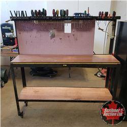 "Work Bench w/Backsplash, Light, 42 Screwdrivers & 2 Magnets (63""H x 60""W x 16""D)"