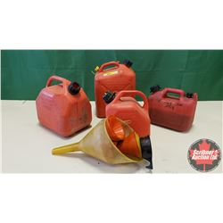 Jerry Cans (4) & Variety of Funnels