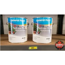 New/Old Stock Paint : General Paint Porch & Floor Acrylic Latex Enamel - White (2 Gallons)